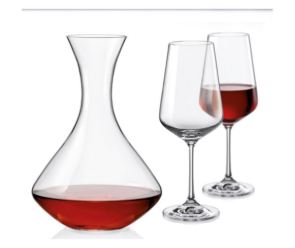 Set 2 pahare pentru vin si decantor Bohemia Sandra - Bohemia, Alb