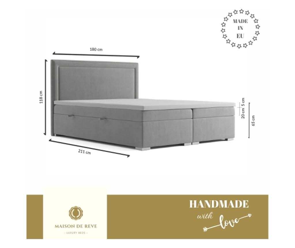 Boxspring krevet s prostorom za odlaganje Annecy Dark Grey 180x200 cm