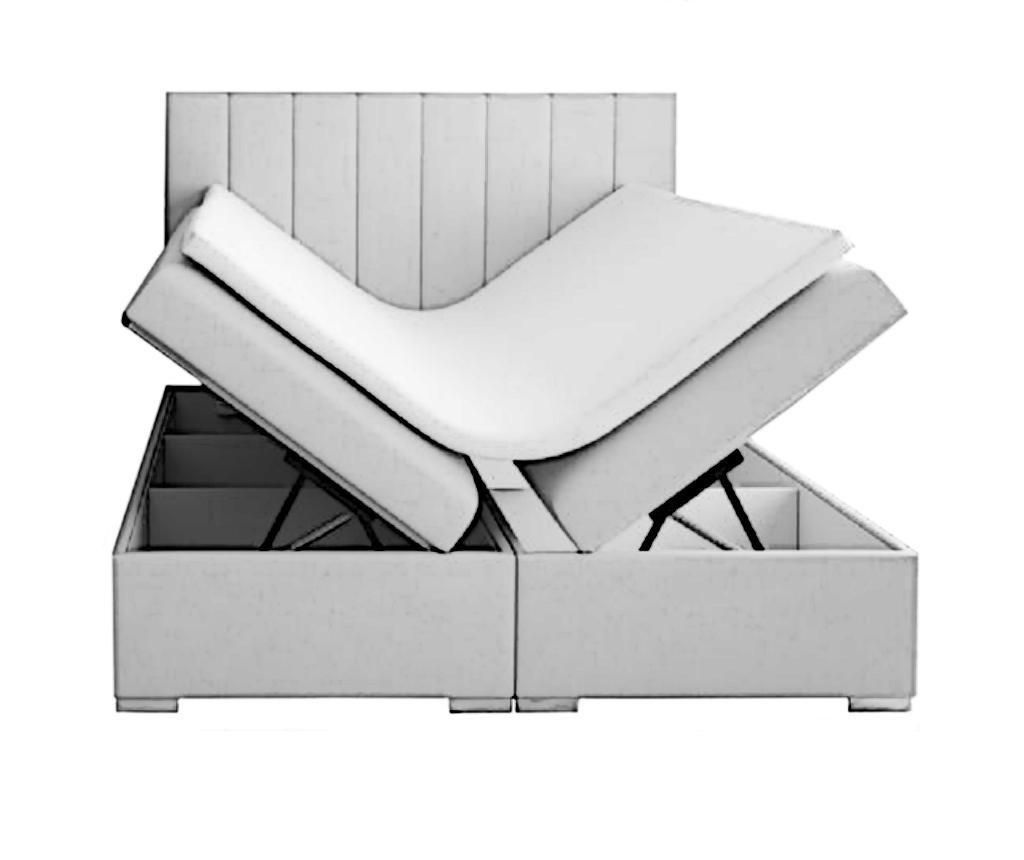 Boxspring krevet s prostorom za odlaganje Saint Tropez Light Grey 160x200 cm