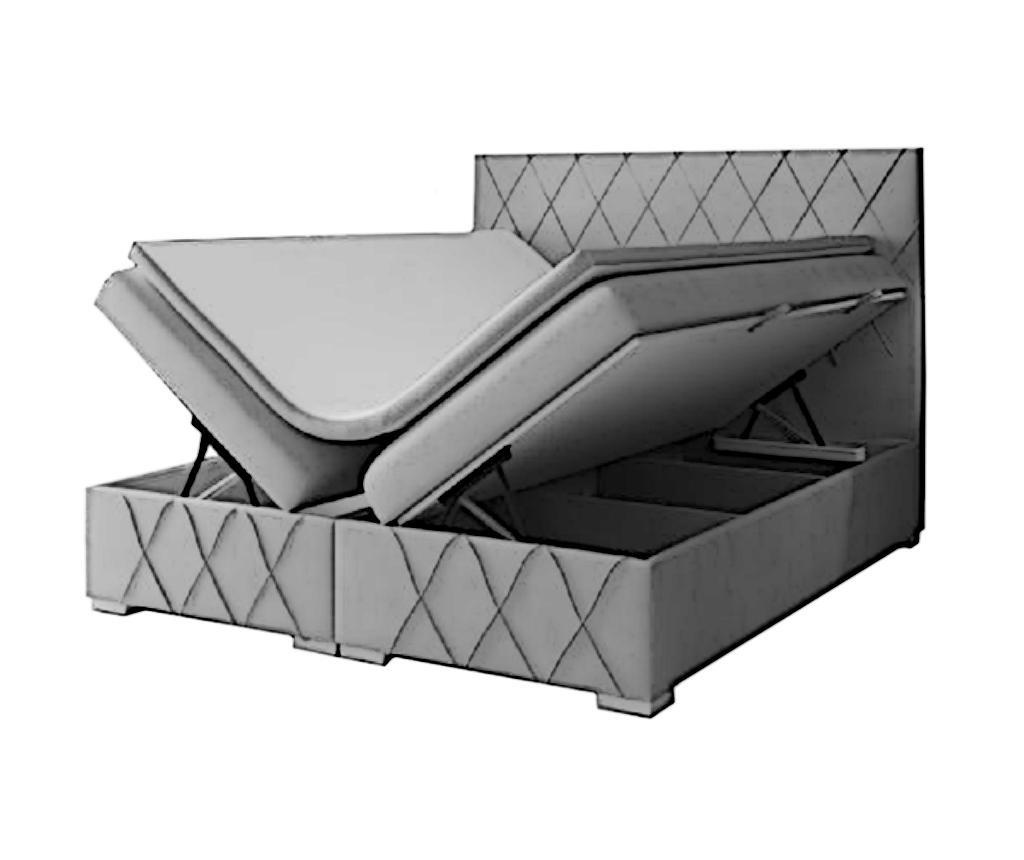 Boxspring postelja s prostorom za shranjevanje Nantes Dark Grey 140x200 cm