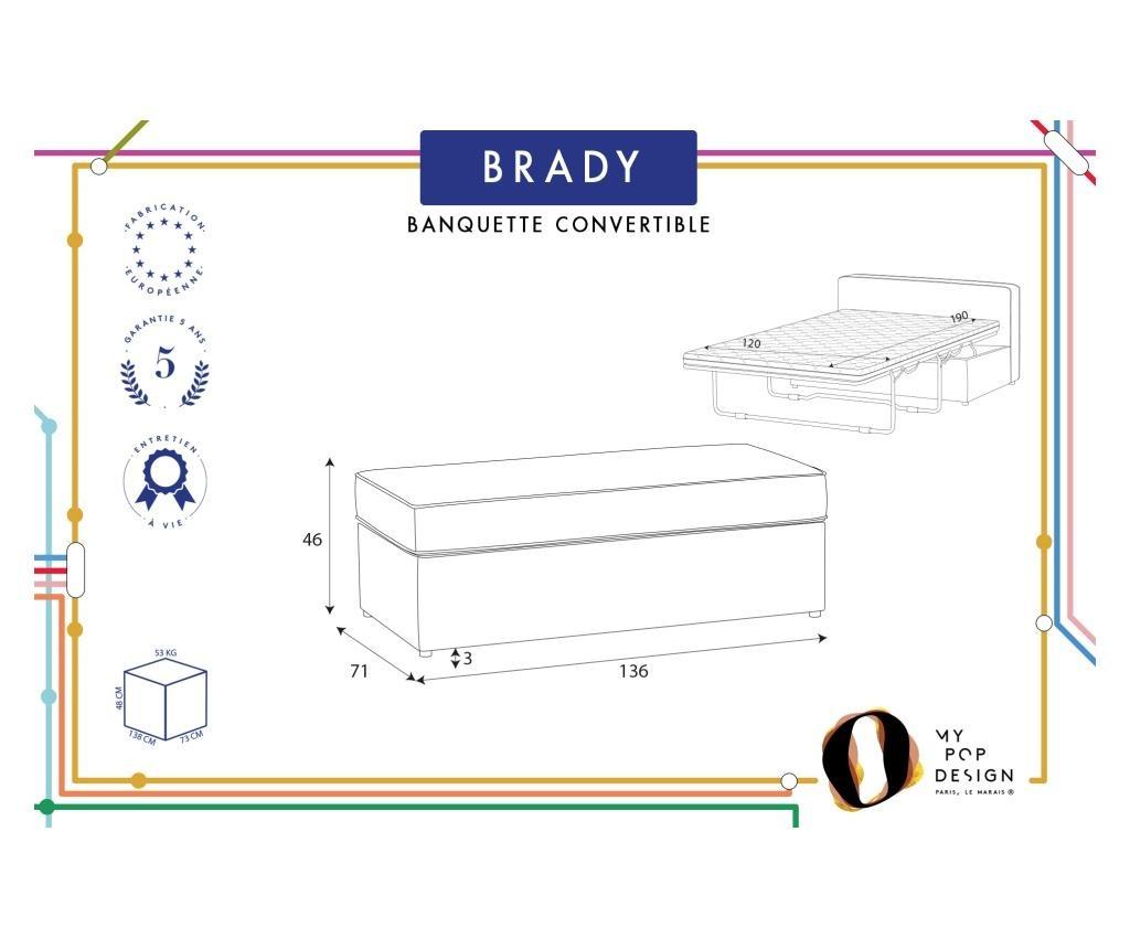 Bancheta extensibila Brady 130 Uni Grey & Silver