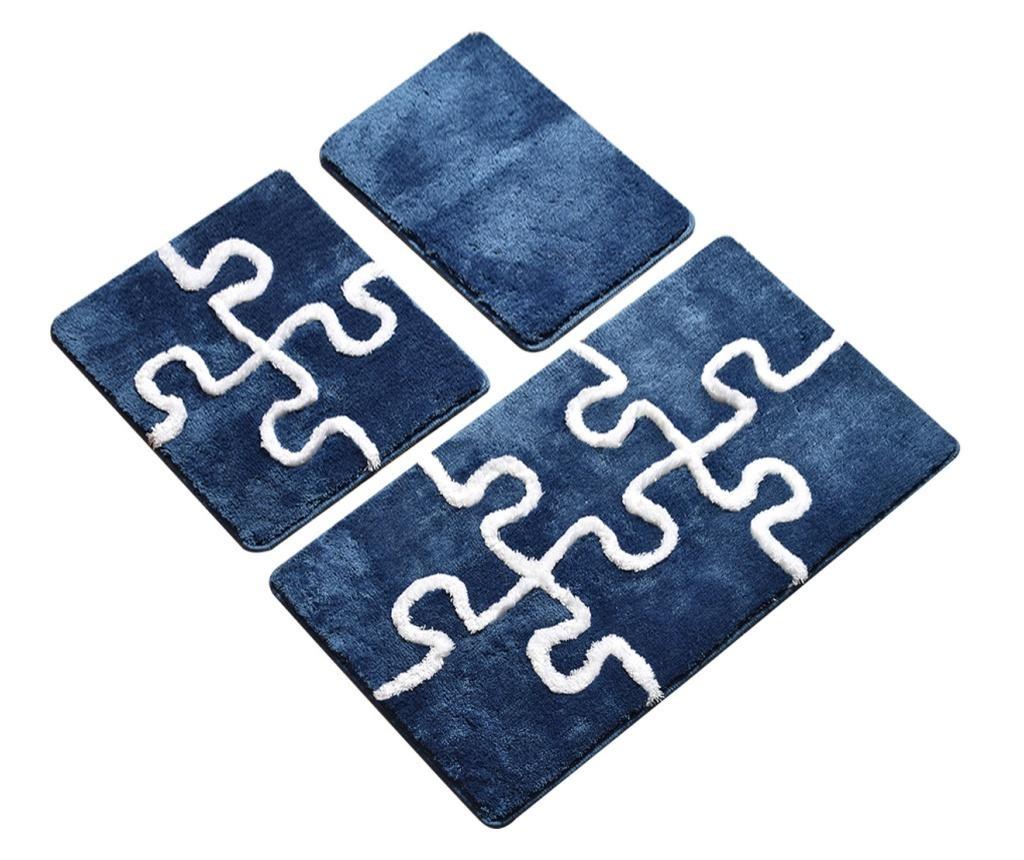 Puzzle Blue 3 db Fürdőszoba szőnyeg