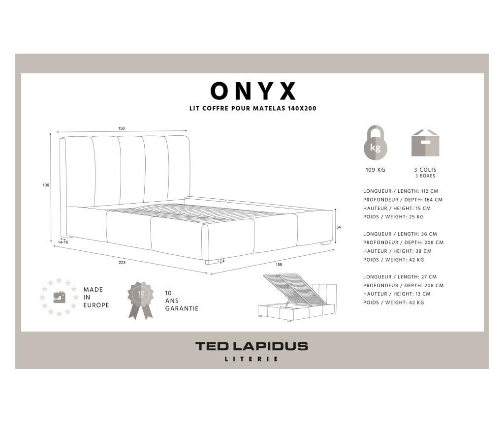Onyx Beige Ágy tárolódobozzal 140x200 cm