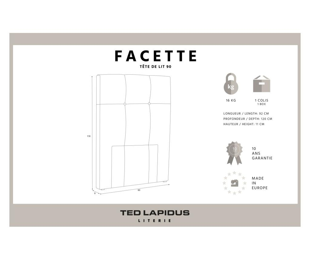 Tablie de pat Facette Cream 90x118 cm