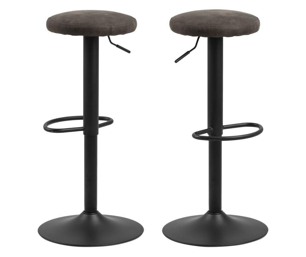 Set 2 scaune de bar Finch Dark Grey - actona, Gri & Argintiu