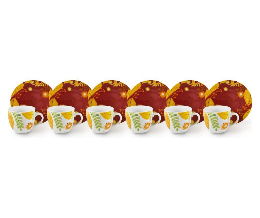 Set 6 cesti de cafea cu farfurioare Autumn Leaves 90 ml - Excelsa, Multicolor