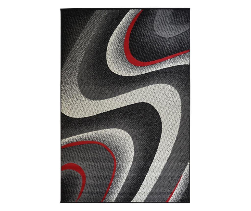 Covor Moderno Onda Nero Rosso 160x225 Cm - Floorita, Negru