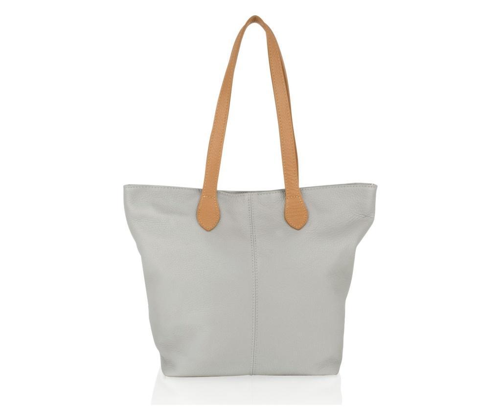 Geanta Carry Light Grey - Woodland Leather, Gri & Argintiu