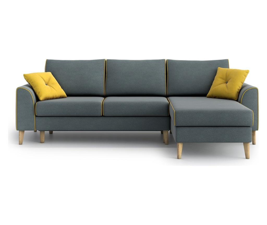 Optisofa Coltar Reversibil Extensibil William Steel Blue Yellow Albastru