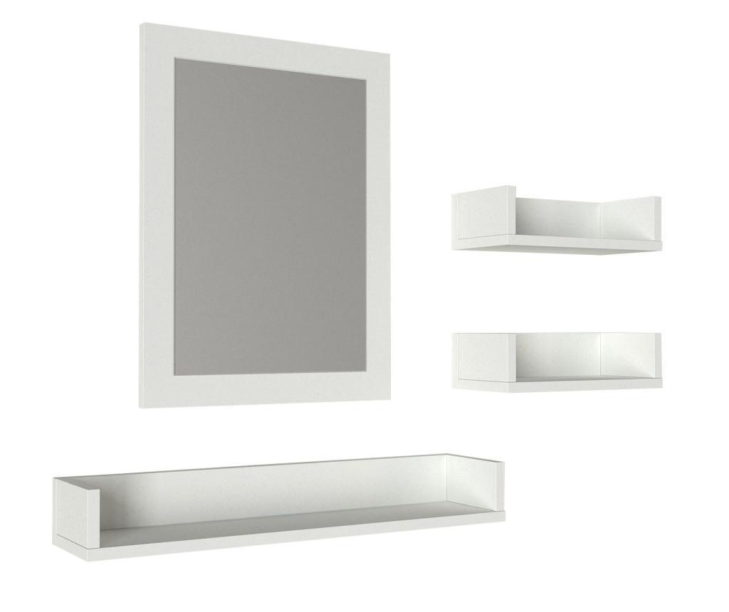 Set oglinda de baie si 3 polite - Furny Home, Alb