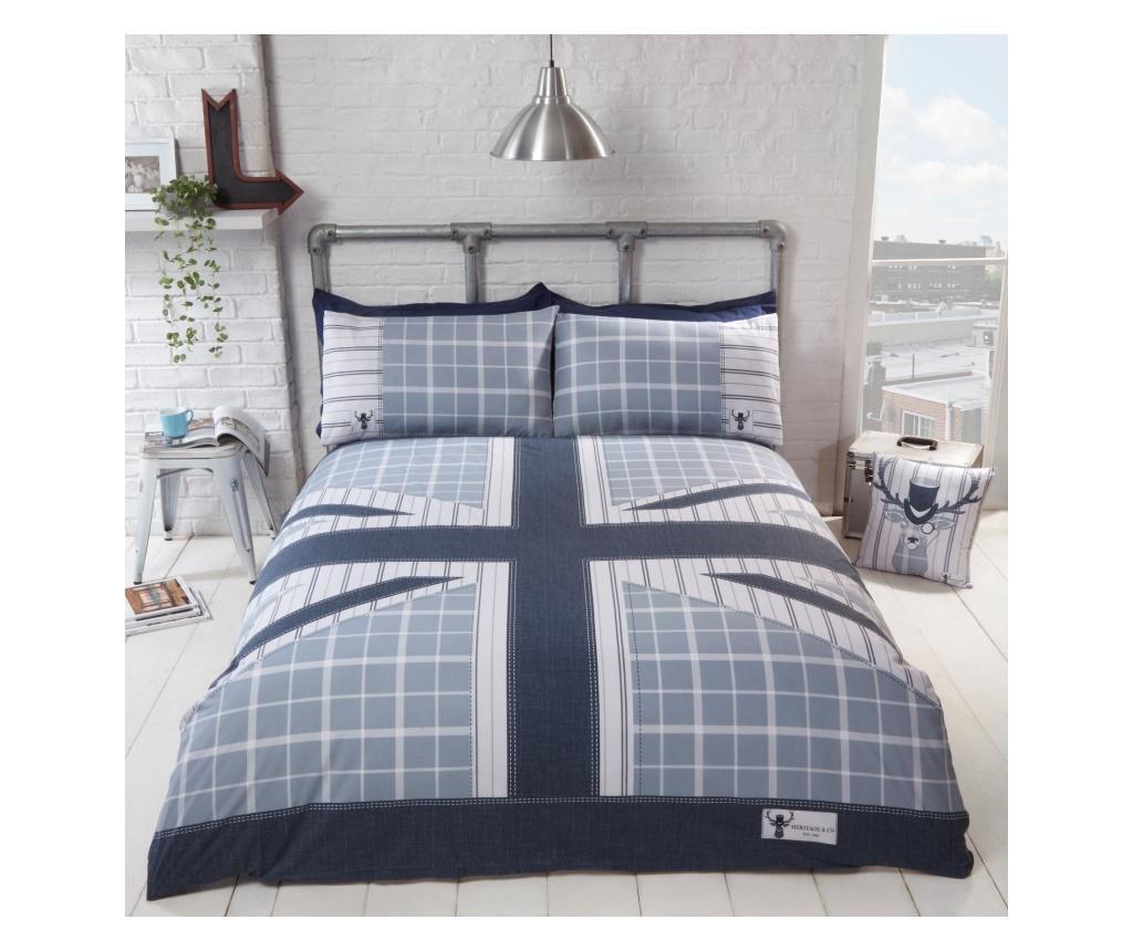 Set de pat Single Cool Britania Blue - Rapport Home, Multicolor