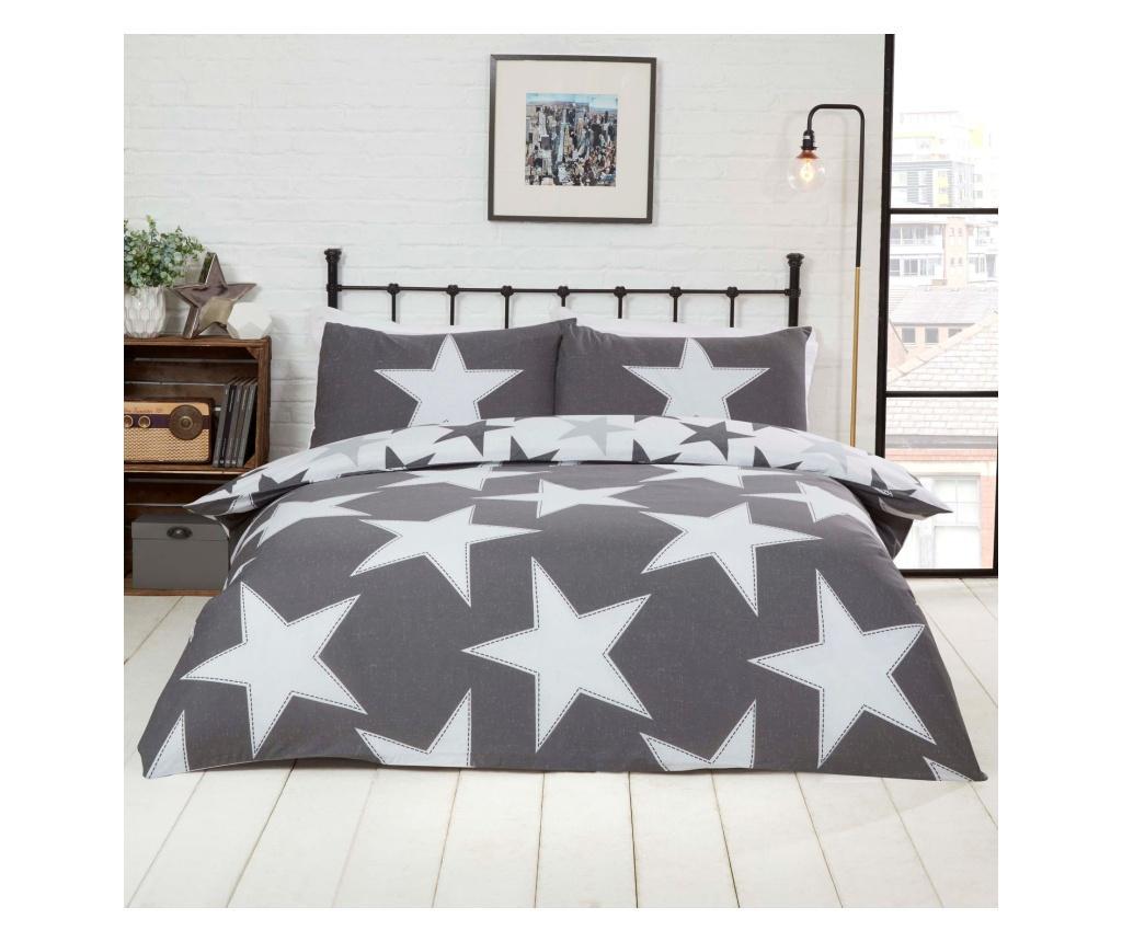 Set de pat reversibil Double Extra All Stars Grey - Rapport Home, Multicolor