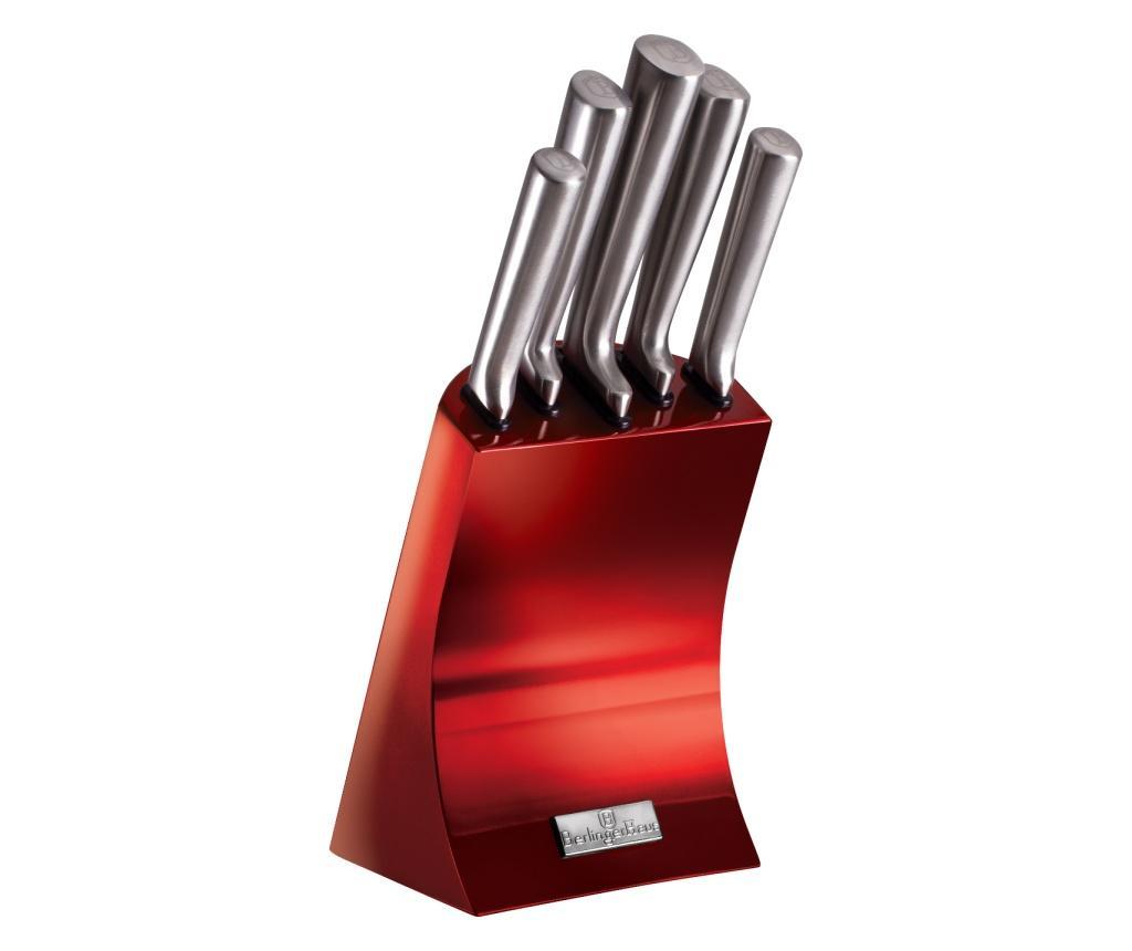Set 6 Cutite Si Suport Metallic Burgundy - Berlinger Haus, Rosu