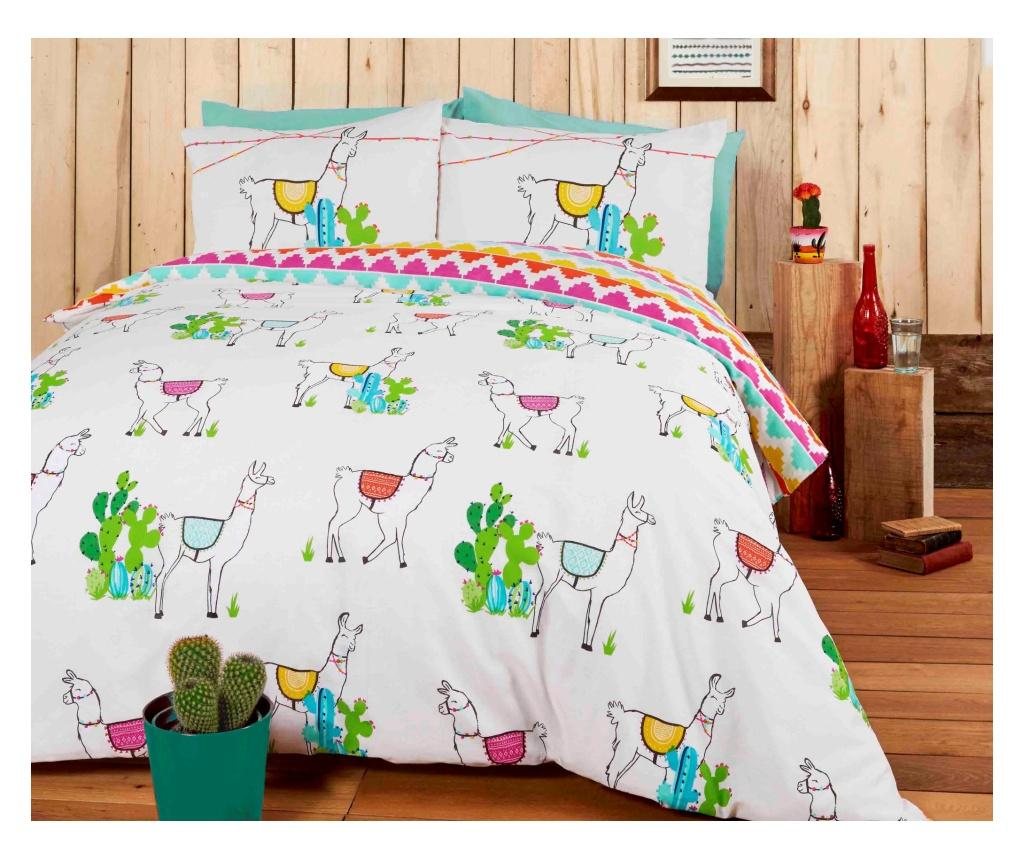 Set de pat reversibil Double Happy Llamas - Rapport Home, Multicolor