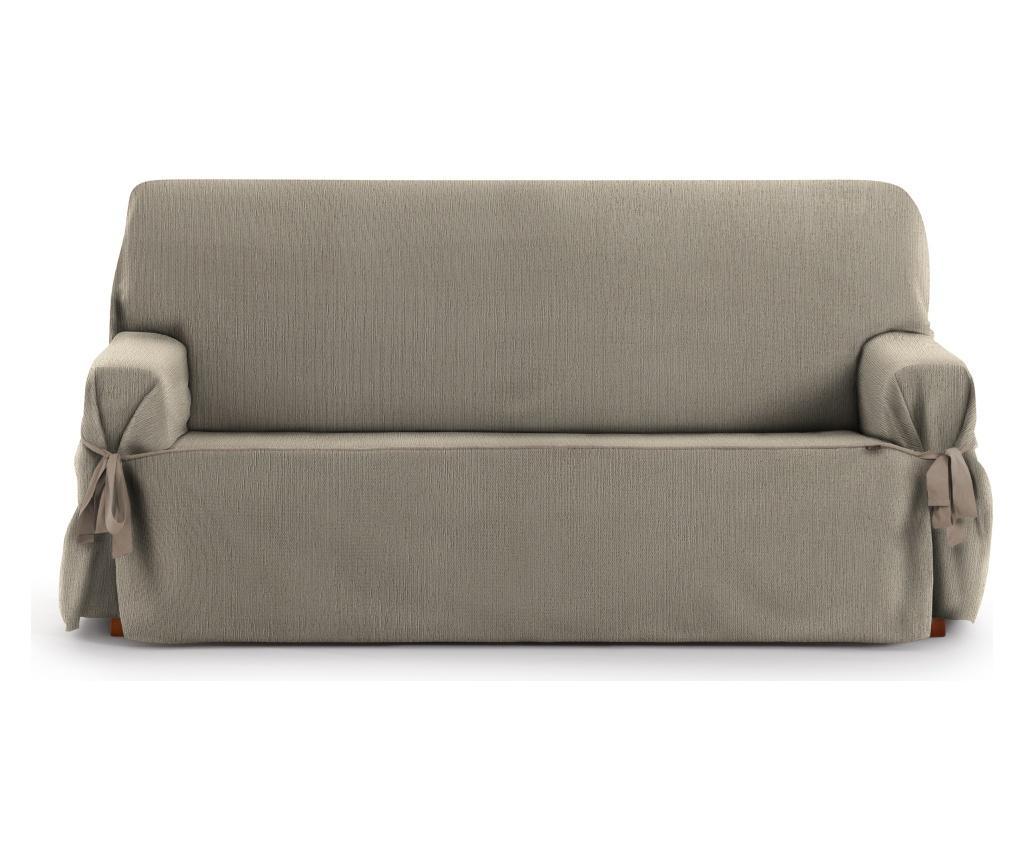 Husa ajustabila pentru canapea cu 2 locuri Chenille Ties Taupe 140-180 cm - Eysa, Maro