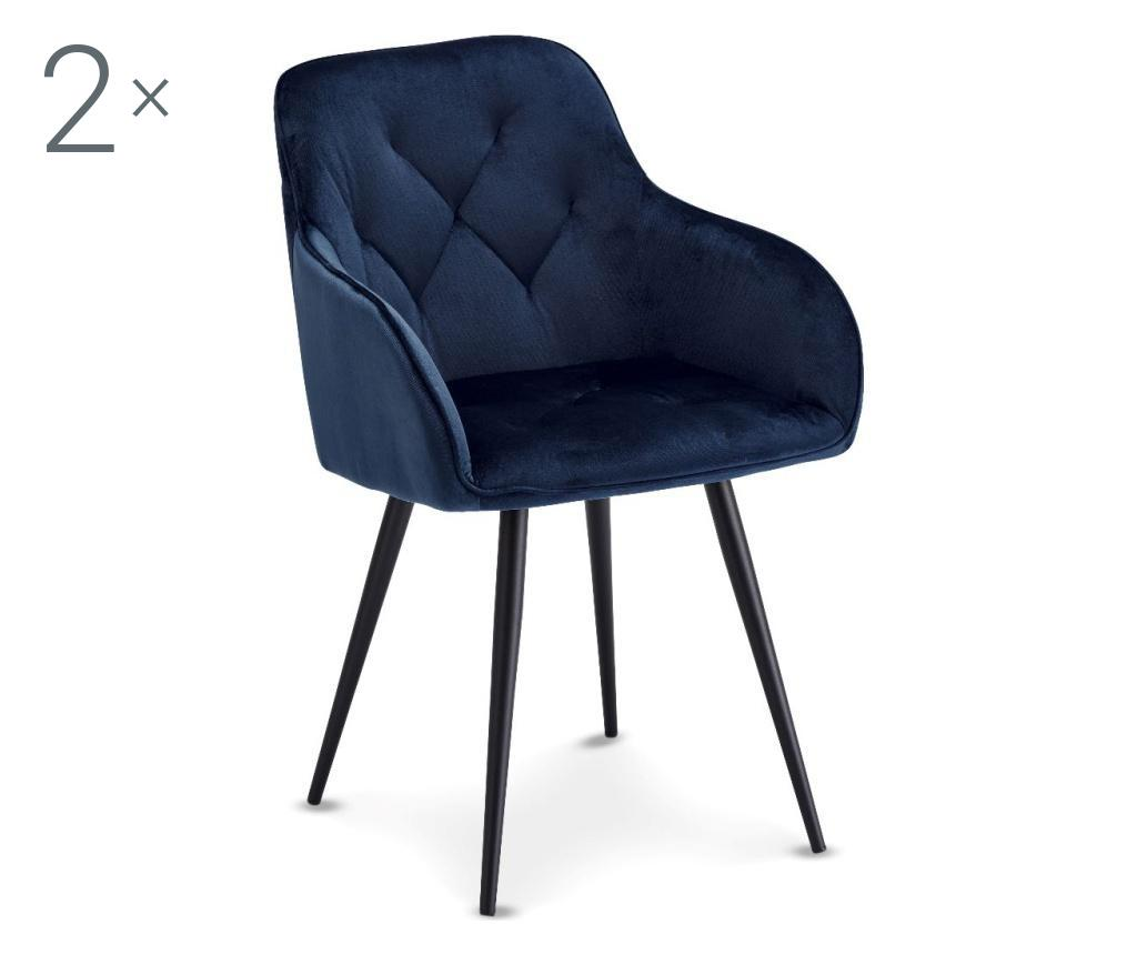 Set 2 scaune Nadja Blue - Furnhouse, Albastru,Negru