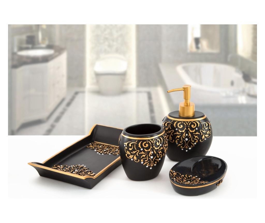 Set accesorii de baie 4 piese Flossy Black - Irya, Negru