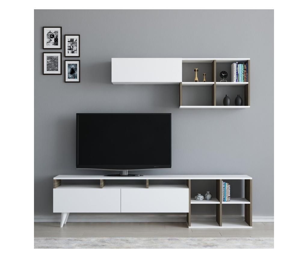 Set comoda TV si raft de perete Kuzey White And Walnut - Arnetti, Alb