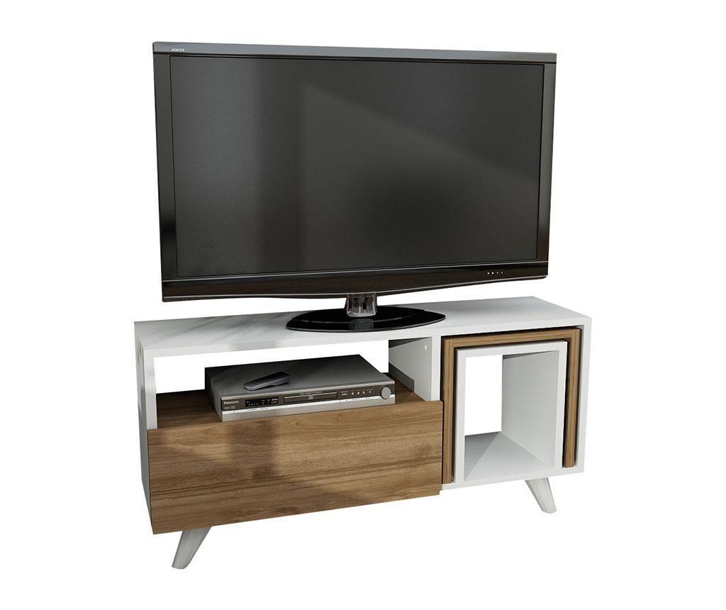 Set - TV omarica in 2 klubski mizici Novella White andWalnut