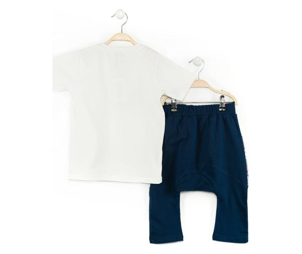 Set tricou si pantaloni trei sferturi pentru copii Dino Checked Baggy 6 years
