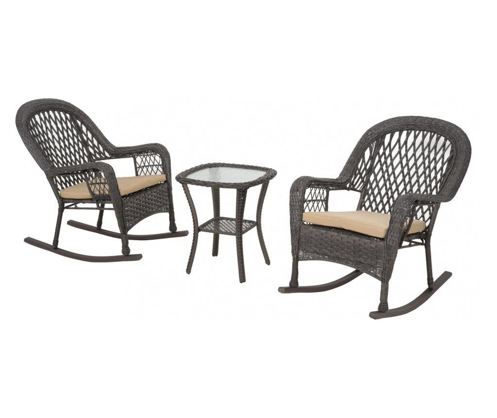 Set 2 vrtnih gugalnih stolov in mizice Saltville