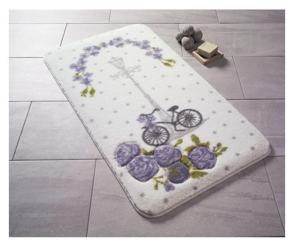Covoras De Baie Vintage Bike Whitepurplegreen 80x140 Cm - Confetti, Multicolor