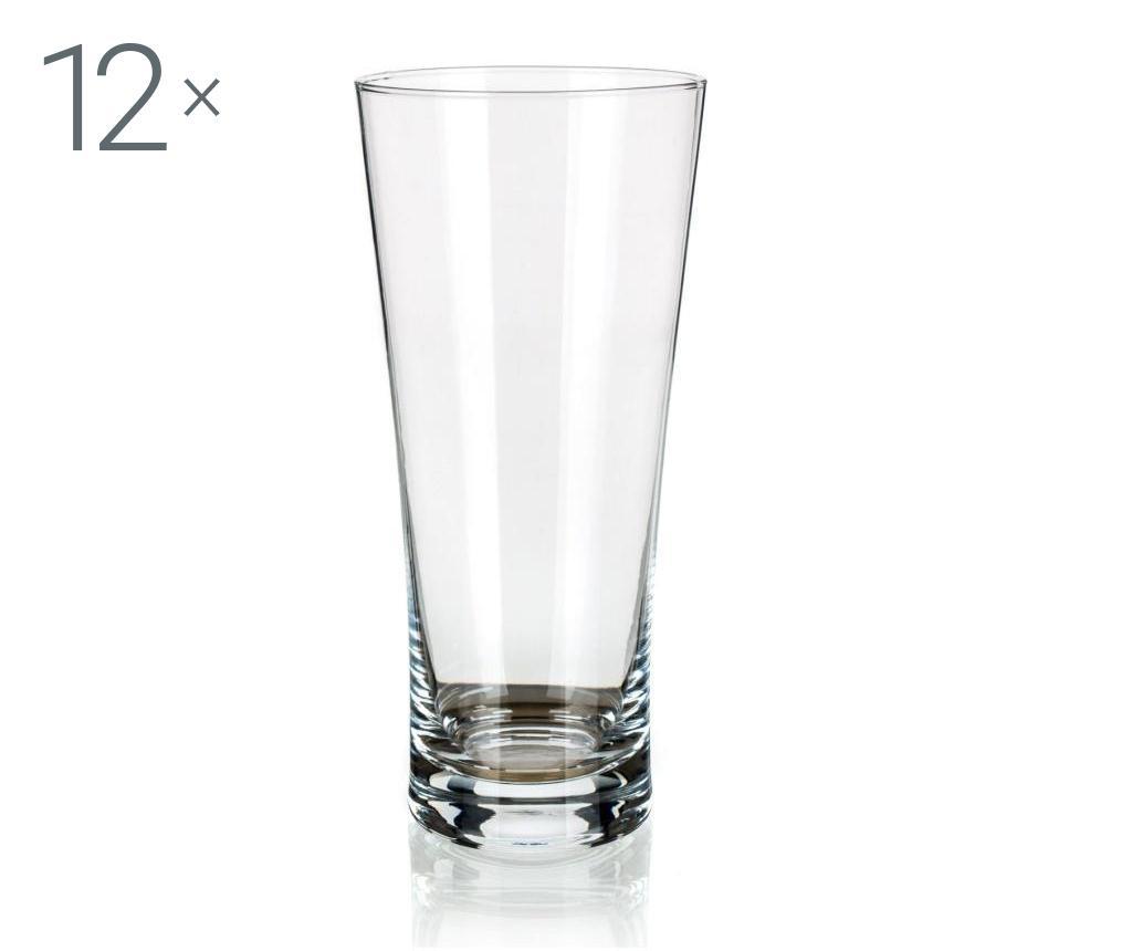 Set 12 pahare pentru bere 540 ml - Banquet Crystal, Alb