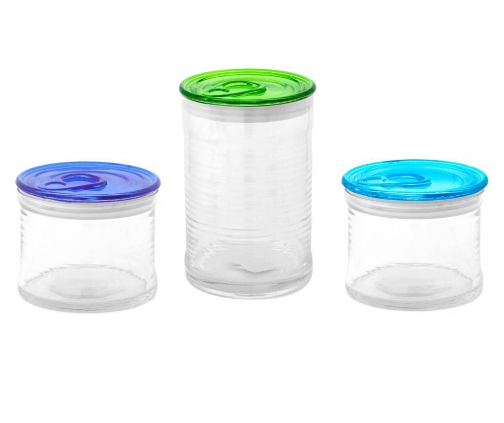 Set 3 borcane cu capac Devotion To Colours - Kaleidos, Multicolor