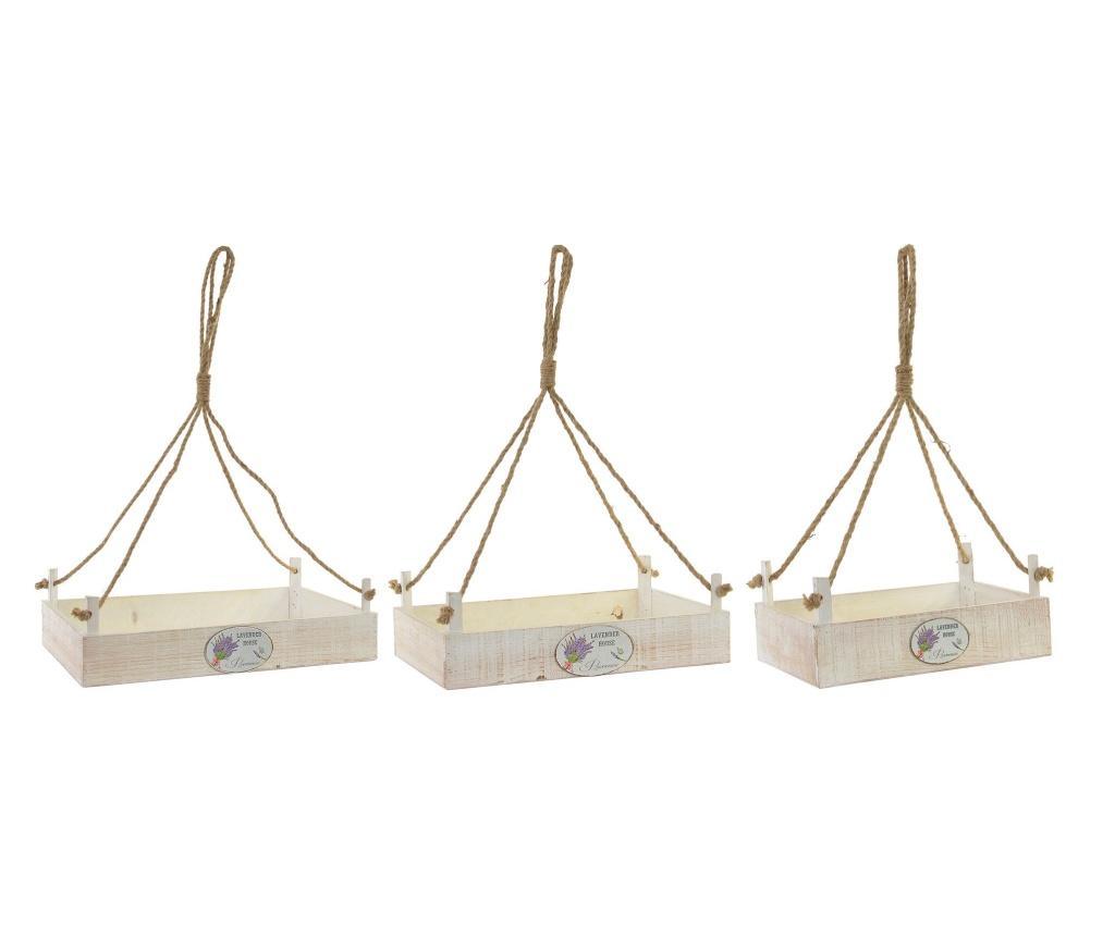 Set 3 suporturi pentru ghivece - Item International, Alb