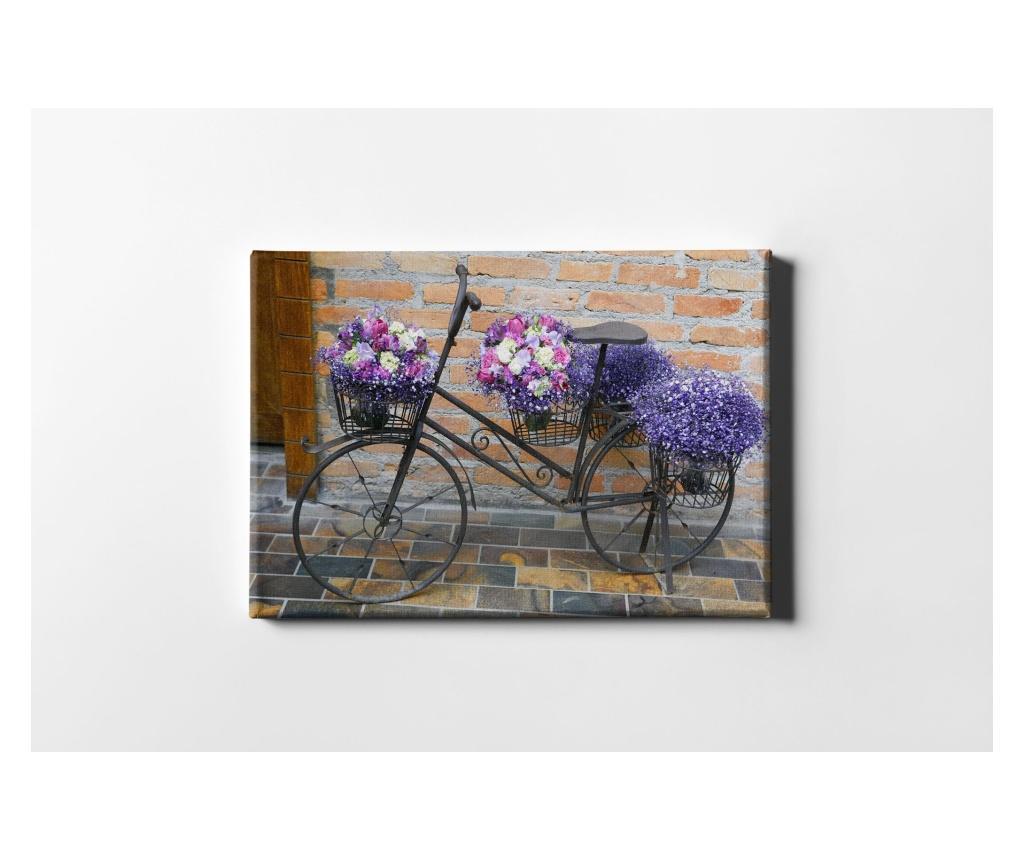 Tablou Flowering Bike 60x90 cm - CASBERG, Multicolor