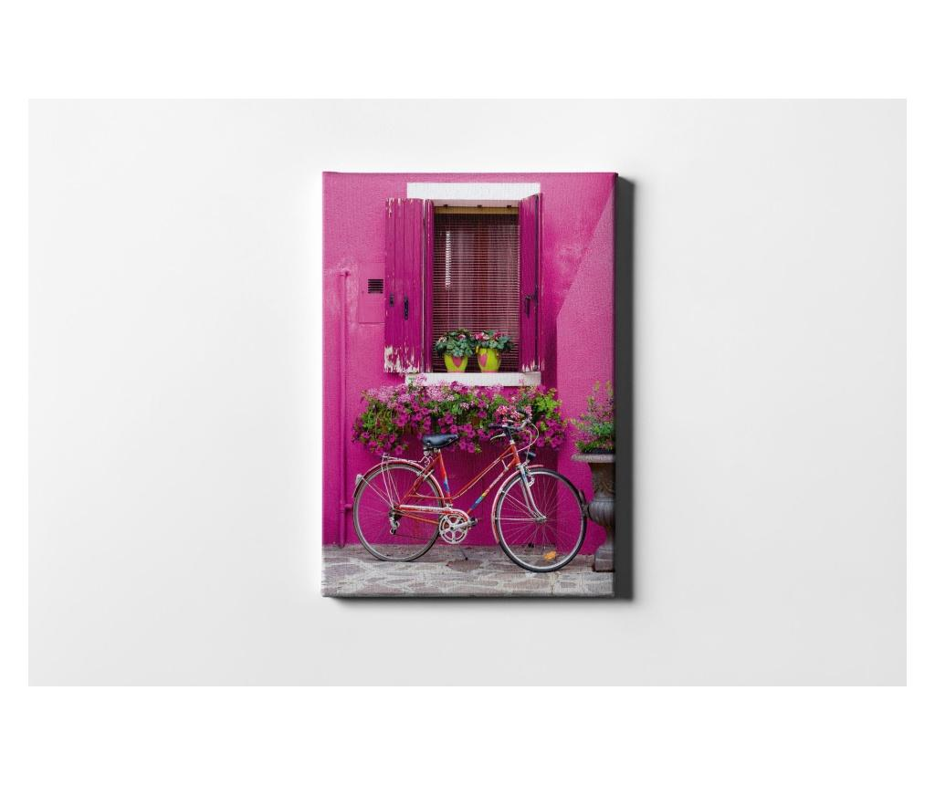 Tablou Pink Window And Bicycle 50x70 cm - CASBERG, Multicolor