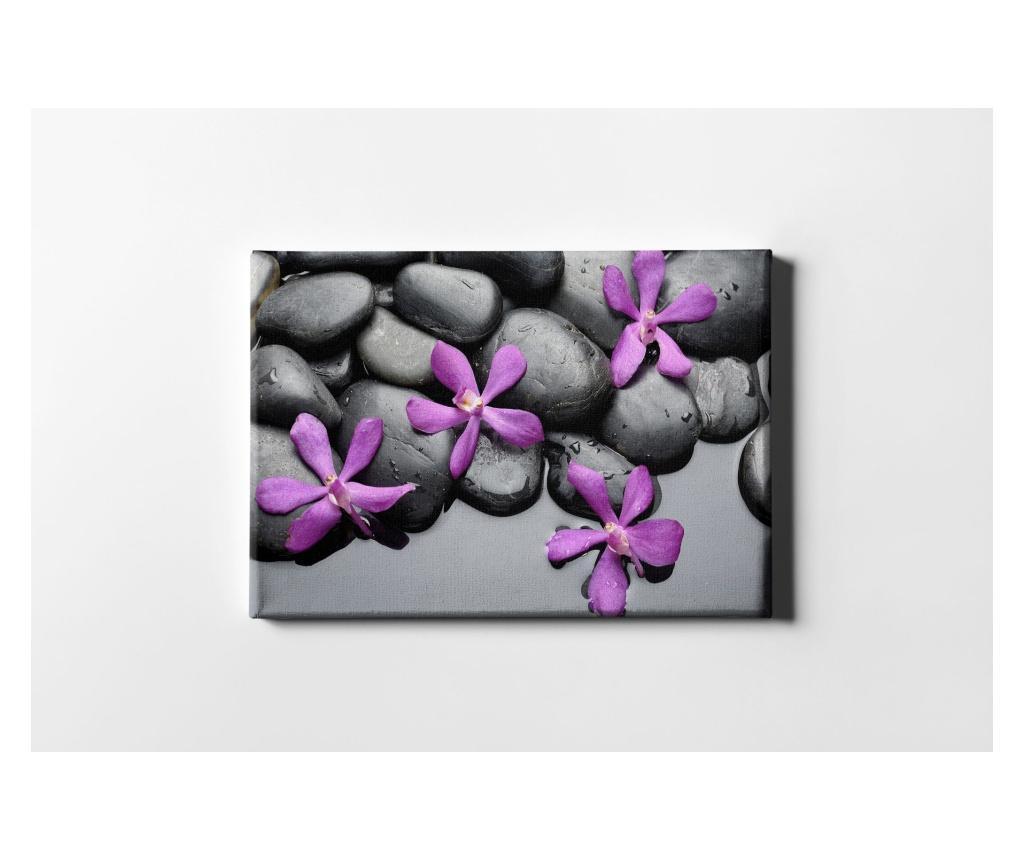 Tablou Purple Flowers And Stones 40x60 cm - CASBERG, Multicolor