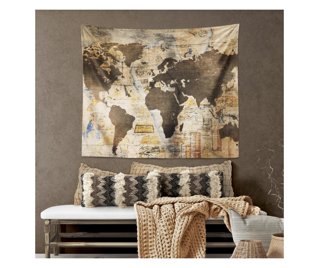 Tapiserie multifunctionala World Map 120x145 cm - The Club Cotton, Multicolor