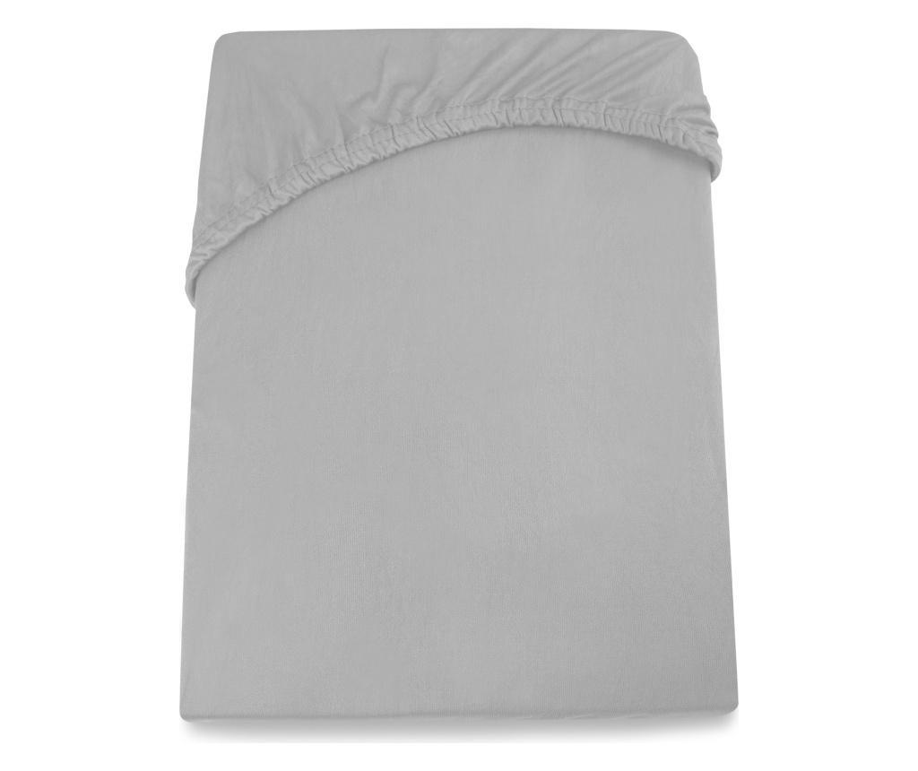 Cearsaf de pat cu elastic Amelia Silver 100x200 cm