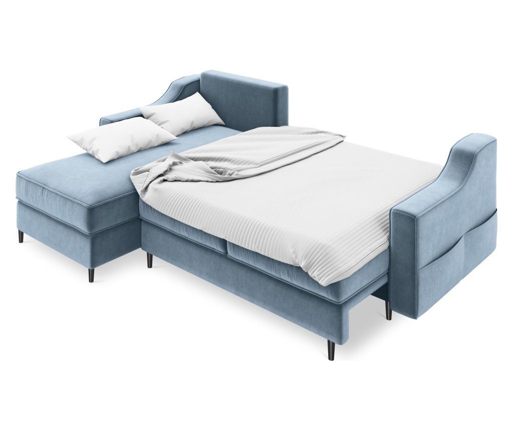 Amaryllis Velvet Blue Grey and Black Chrome Four Megfordítható és kihúzható sarokkanapé