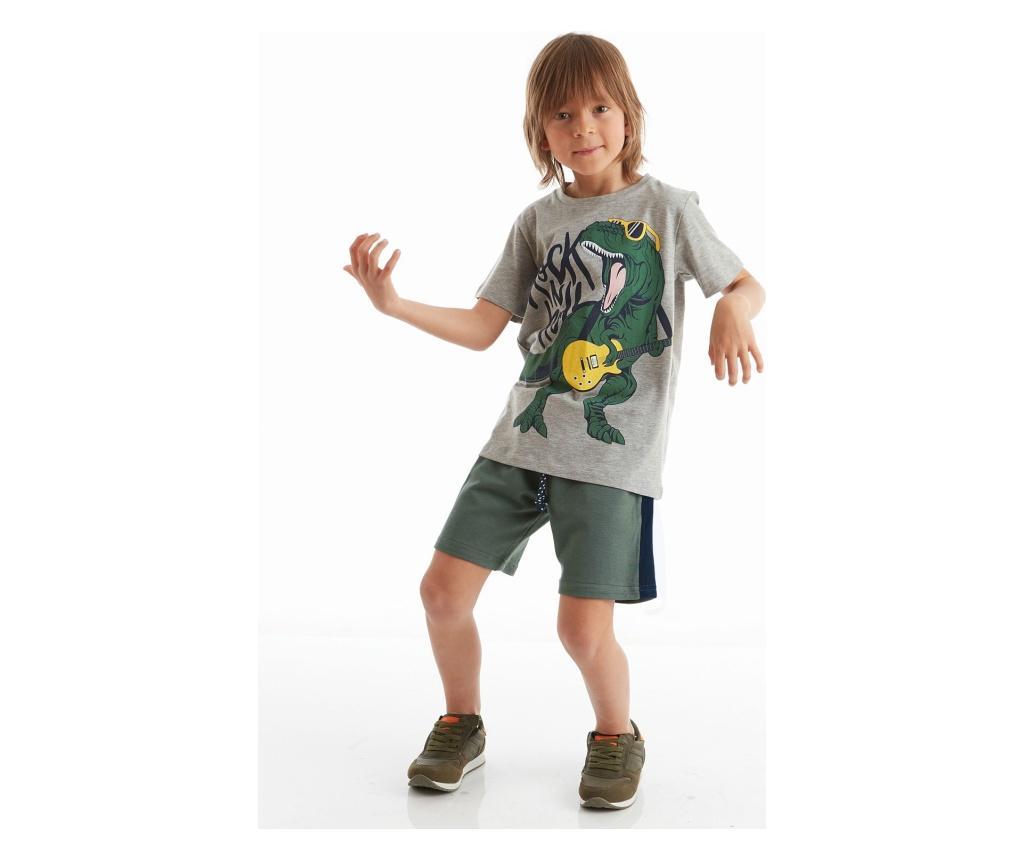 Set Tricou Si Pantaloni Pentru Baieti Rock Dino 4 Ani - Mushi