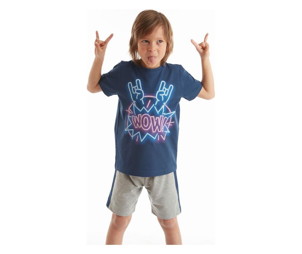 Set Tricou Si Pantaloni Pentru Baieti Wow Rock 5 Ani - Mushi