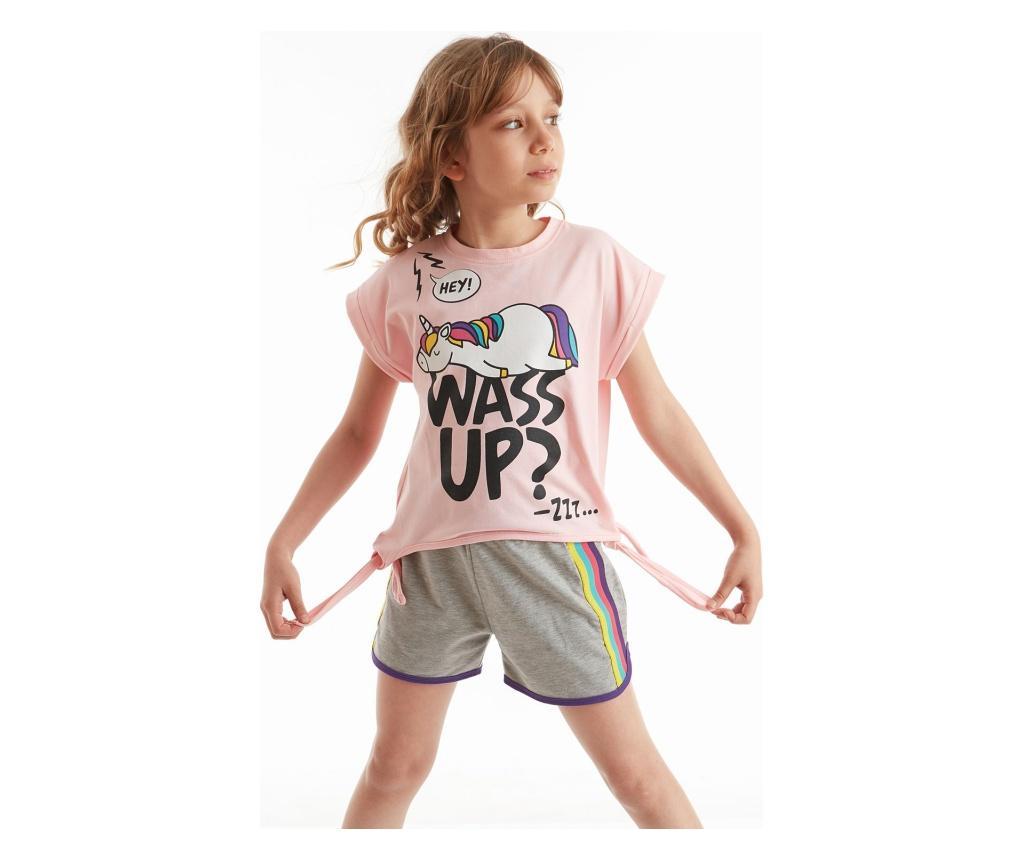 Set Pantaloni Scurti Si Tricou Pentru Fete Wassup 4 Ani - Mushi