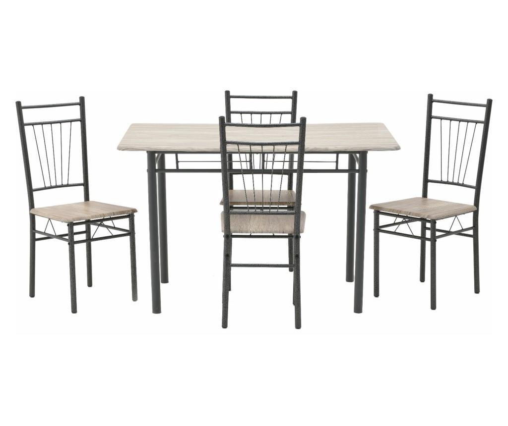 Set masa si 4 scaune - inart, Maro,Negru