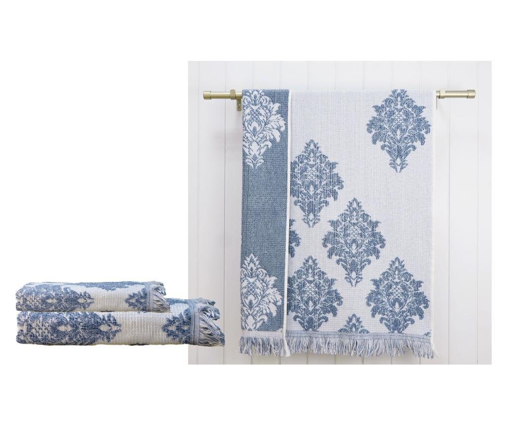 Set 2 prosoape de baie Versailles Blue - Ardenza, Albastru de la Ardenza