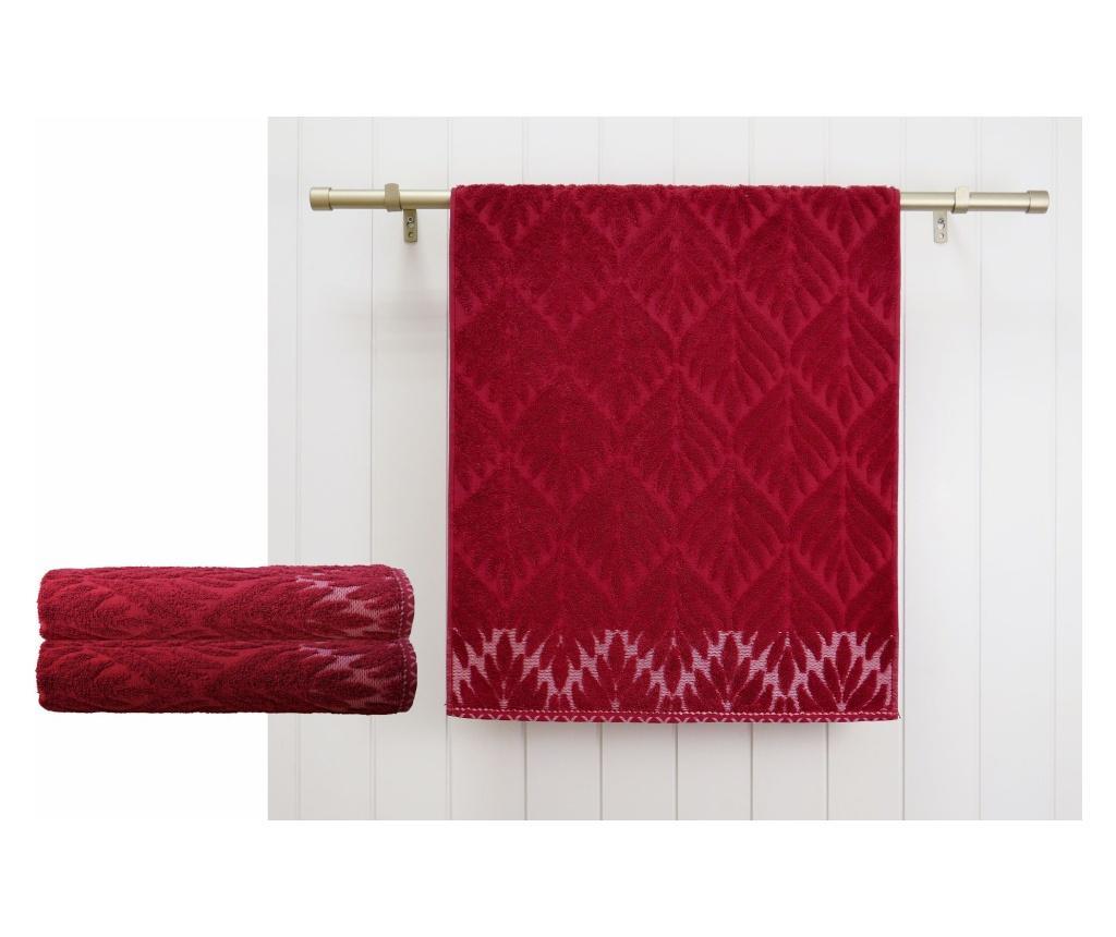 Set 2 prosoape de baie Flora Red 48x90 cm - Ardenza, Rosu