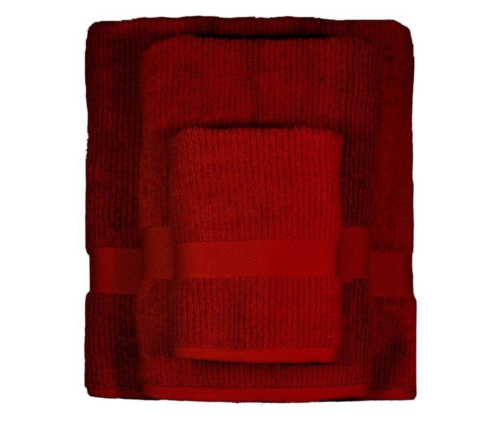 Set 3 prosoape de baie Frida Dark Red - Ardenza, Rosu