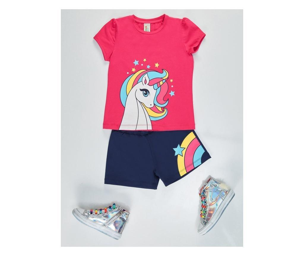 Set pantaloni scurti si tricou pentru fete Rainbow Unicorn 5 years