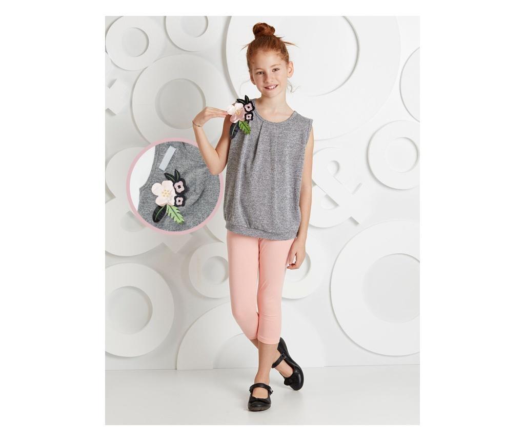 Otroški komplet - majica brez rokavov in pajkice Flower Shoulders 5 years