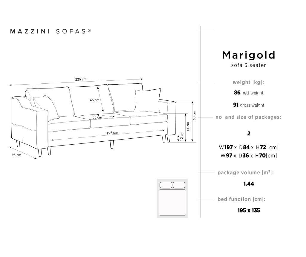 Marigold Dark Grey Háromszemélyes kihúzható kanapé