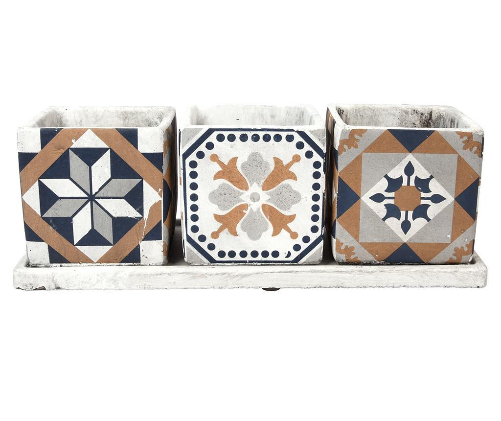 Set 3 ghivece si suport Portuguese - Esschert Design, Albastru,Portocaliu