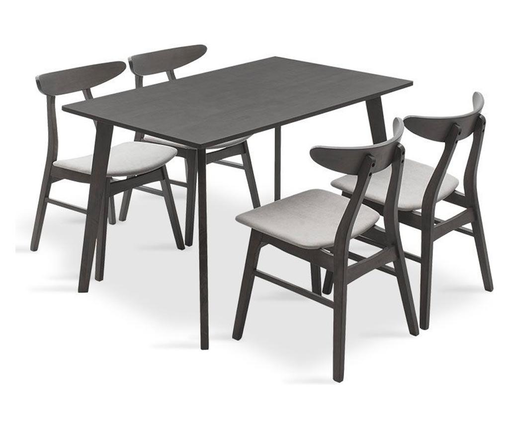 Set masa si 4 scaune Benson Orlean Grey - PAKOWORLD, Gri & Argintiu