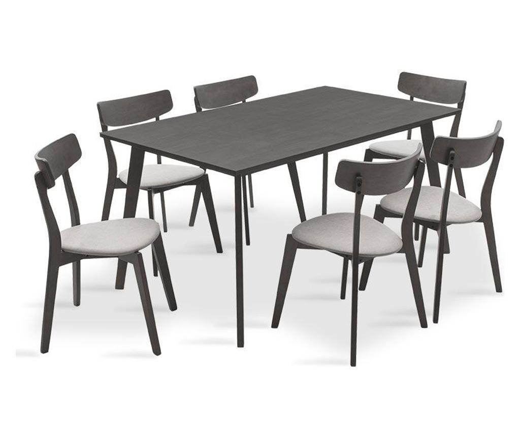 Set masa si 6 scaune Benson Toto Grey - PAKOWORLD, Gri & Argintiu