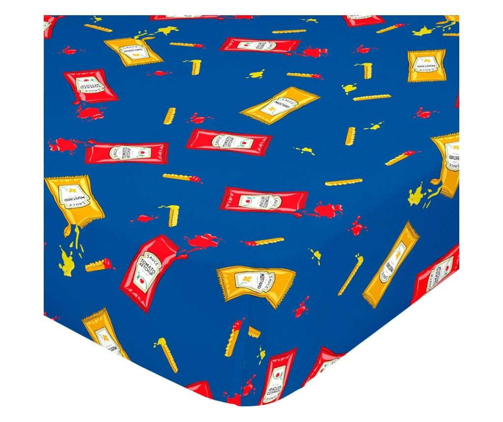 Cearsaf de pat cu elastic Hotdog 90x200 cm - Baleno Teen, Albastru