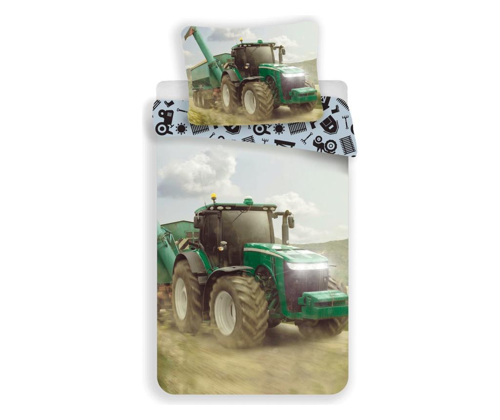 Set de pat Single Ranforce Tractor Green - Sweet home, Multicolor